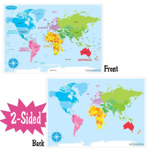 Basic World Map Smart Poly 2-Sided Learning Mat