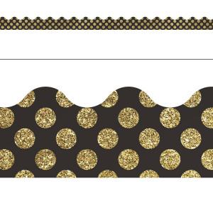 Gold Glitter Dots Border