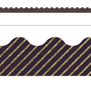 Gold Glitter Navy Stripe Border