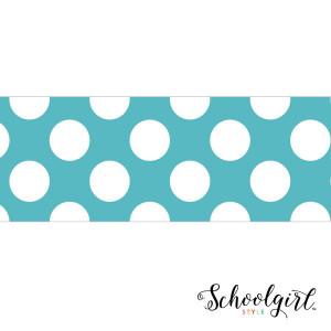 Schoolgirl Style Teal with Polka Dots Border