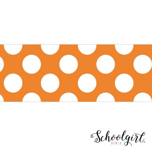 Schoolgirl Style Orange with Polka Dots Border