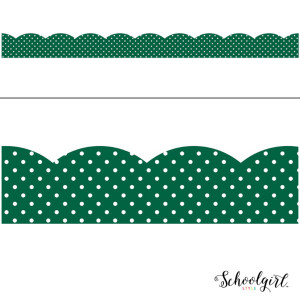 Industrial Cafe Green with White Polka Dots Border