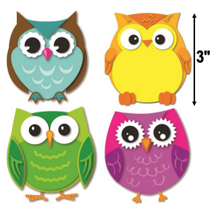 Colorful Owls Mini Assorted Cut-Outs