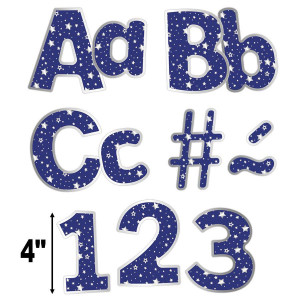 """Navy with Silver Stars 4"""" EZ Letters Combo Pack"""