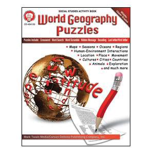 World Geography Puzzles Book