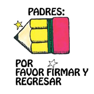 Padres: Por Favor Firmar y Regresar Spanish Stamp