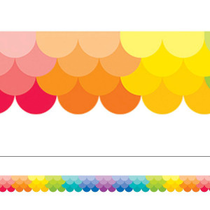 Painted Palette Rainbow Ombre Scallop Border
