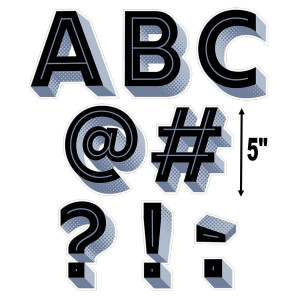 "Black 3D 5"" Uppercase Letters"