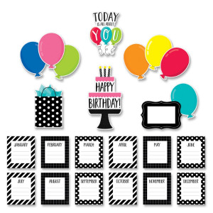 Black & Whtie Happy Birthday Mini Bulletin Board