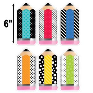 """Bold & Bright Striped & Spotted Pencil 6"""" Cut-Outs"""