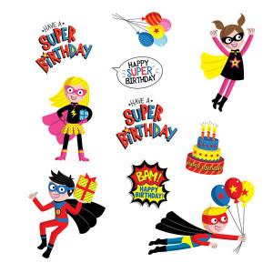 Superheroes Birthday Stickers
