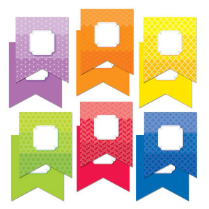 "Painted Palette Rainbow Pennants 6"" Cut-Outs"