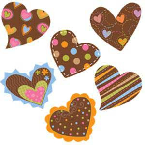"Dots on Chocolate Hearts 1"" Cut-Outs"