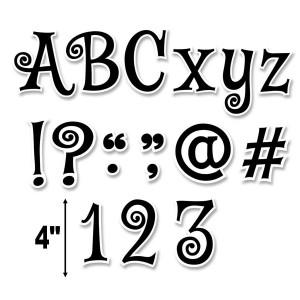 """Black Swirl 4"""" Letters"""
