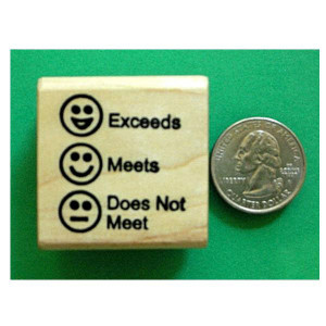 Exceeds-Meets-Does Not Meet Smiley Stamp