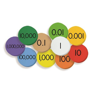 10-Value Decimal to Whole Number Place Value Discs