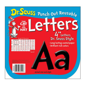 "Dr Seuss Black 4"" Punch-Out Letters"