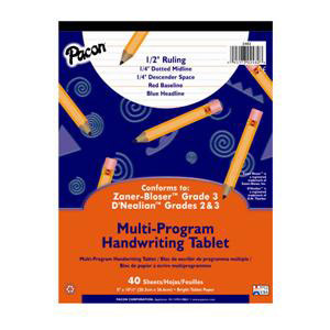 "Handwriting Paper Tablet- 1/2"" Ruling Long"