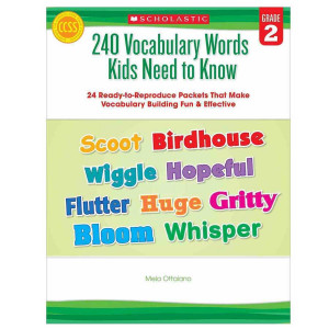 240 Vocabulary Words Kids Need to Know Book- Gr 2