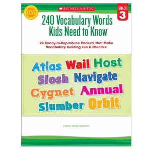 240 Vocabulary Words Kids Need to Know Book- Gr 3