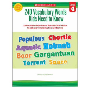 240 Vocabulary Words Kids Need to Know Book- Gr 4