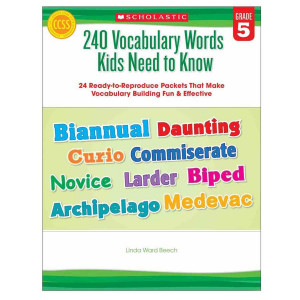240 Vocabulary Words Kids Need to Know Book- Gr 5
