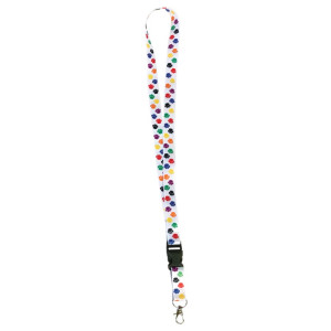Colorful Paw Prints Lanyard