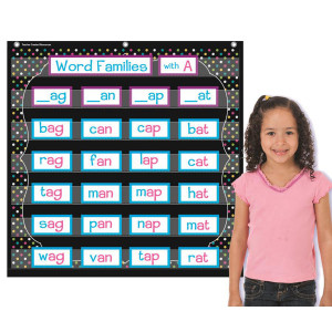 Chalkboard Brights Pocket Chart-7 Pockets