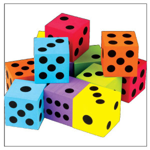 Foam Colorful Large Dice-Set of 12