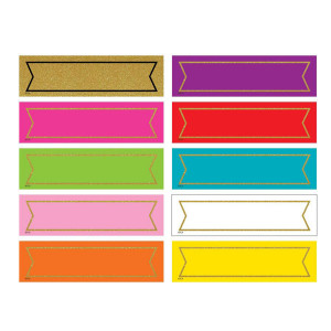 Confetti Colorful Gold Shimmer Labels