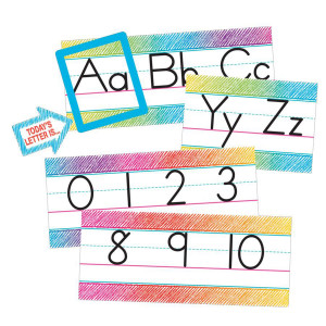 Colorful Scribble Alphabet Line Bulletin Board
