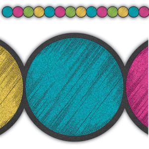 Chalkboard Brights Circles Die-Cut Border