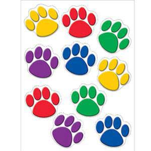 Paw Prints Colorful Cut-Outs