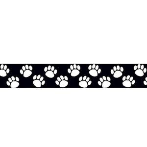 Paw Prints Black & White Border