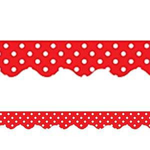 Red Mini Polka Dots Border