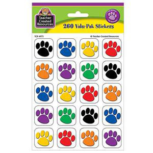Paw Print Colorful Stickers Valu-Pak