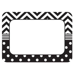 Black & White Chevron & Dot Nametags