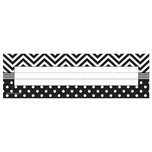 Black & White Chevron & Dot Nameplates