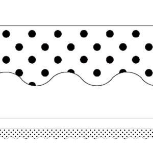 Black Polka Dots on White Scalloped Border