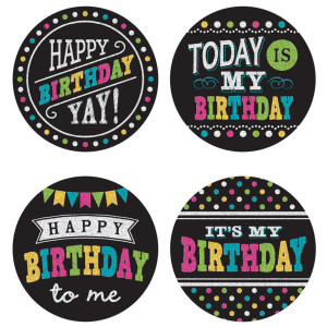 Chalkboard Brights Birthday Wear 'Em Badges