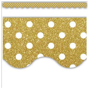 Gold Shimmer Polka Dot Border