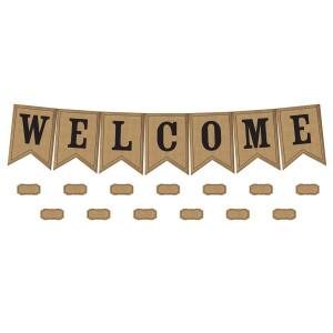 Burlap Welcome Pennants Bulletin Board