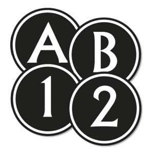 Black & White Circle Letters