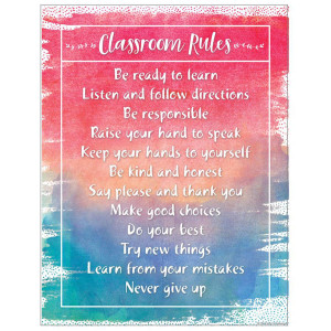 Watercolor Classroom Rules Poster