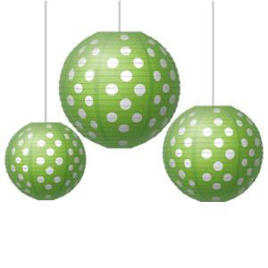 Lime Polka Dots Lanterns