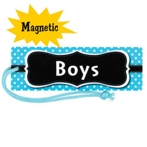 Aqua Polka Dot Magnetic Boys Hall Pass