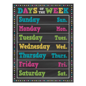 Chalkboard Brights Days of the Week Poster