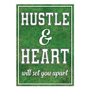 Hustle & Heart Sports Positive Poster