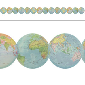 Travel the Map Globes Die-Cut Border