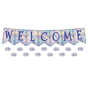 Iridescent Welcome Pennants Bulletin Board